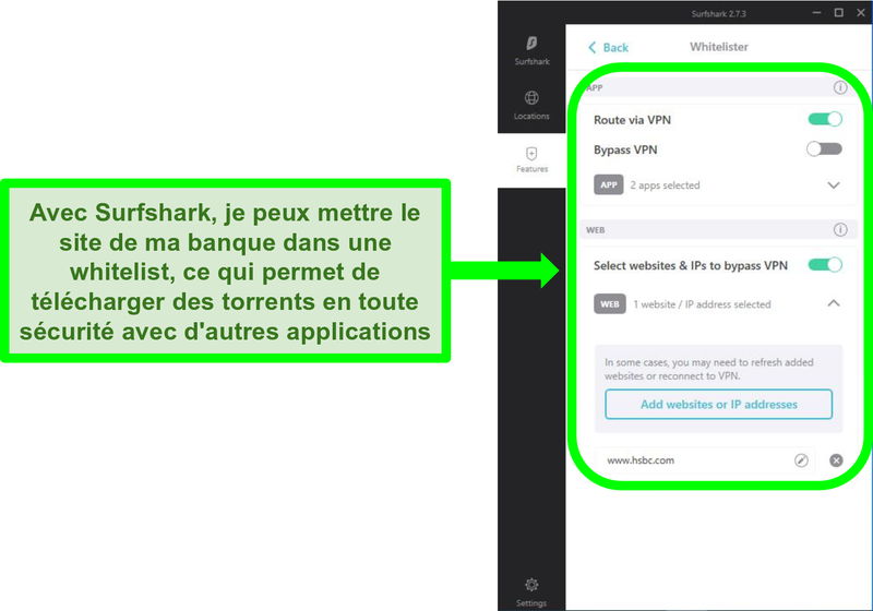 Capture d'écran de l'application Surfshark et des filtres de liste blanche d'URL
