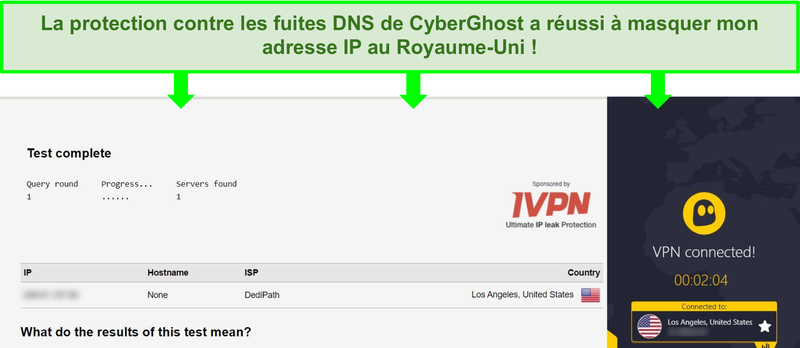 Capture d'écran d'un test de fuite DNS en étant connecté à CyberGhost
