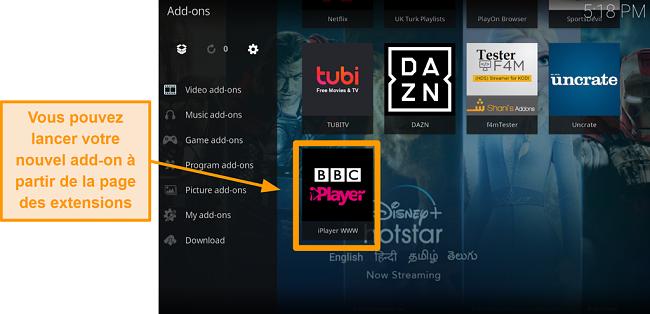 capture d'écran de la procédure d'installation de l'addon officiel kodi, étape onze, lancement d'un nouvel addon depuis la page d'accueil