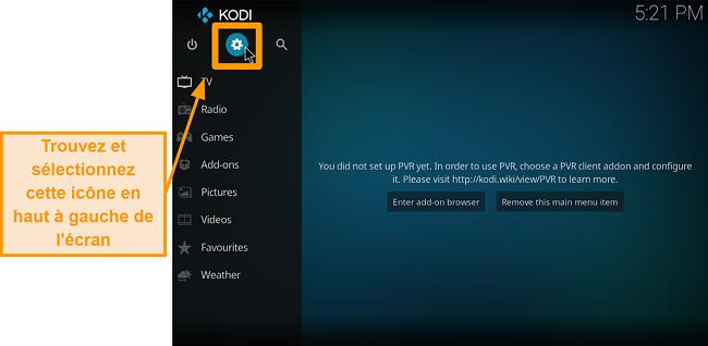 capture d'écran comment installer l'addon tiers kodi étape 2 cliquez sur l'icône de la boîte