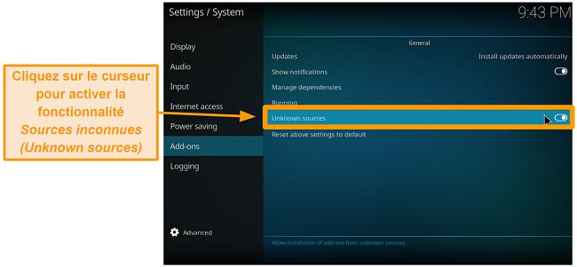 capture d'écran comment installer l'addon kodi tiers étape 4 activer les sources inconnues