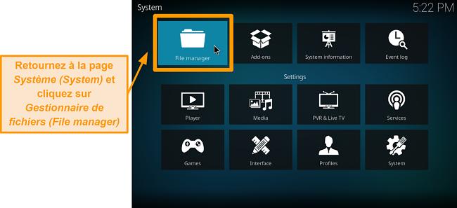 capture d'écran comment installer l'addon tiers kodi étape 5 cliquez sur le gestionnaire de fichiers