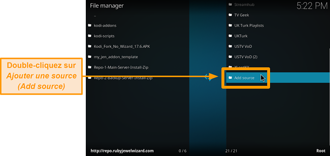 capture d'écran comment installer l'addon kodi tiers étape 6 cliquez sur ajouter une source