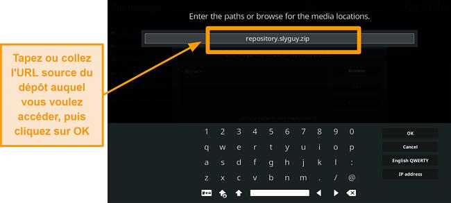 capture d'écran comment installer un addon tiers kodi étape 8 type url source