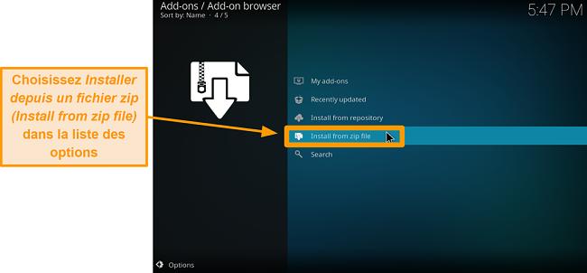 capture d'écran comment installer l'addon tiers kodi étape 14 cliquez sur installer à partir du fichier zip