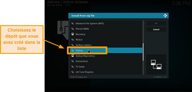 capture d'écran comment installer l'addon kodi tiers étape 15 choisissez le repo