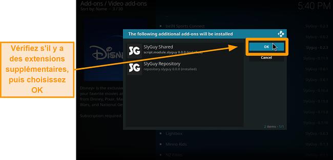 capture d'écran comment installer l'addon kodi tiers étape 18 sheck addons supplémentaires puis cliquez sur ok