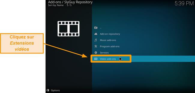 capture d'écran comment installer l'addon tiers kodi étape 20 cliquez sur les addons vidéo