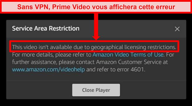 Capture d'écran de l'erreur Prime Video bloquant l'accès aux utilisateurs en dehors des zones géographiques sous licence