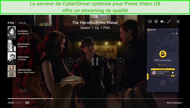Capture d'écran de CyberGhost connecté à un serveur américain et débloquant The Marvelous Mrs Maisel sur Prime Video US