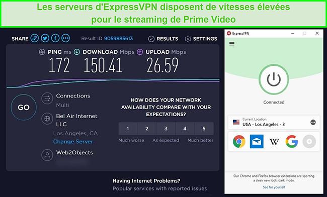 Capture d'écran des résultats du test de vitesse du serveur Los Angeles d'ExpressVPN avec des vitesses rapides