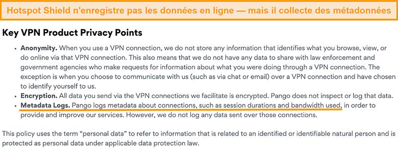 Capture d'écran de la politique de confidentialité de Hotspot Shields