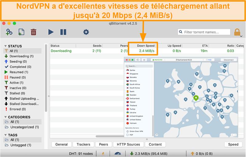 Capture d'écran du serveur Suisse de NordVPN avec le client qBitTorrent téléchargeant un fichier torrent