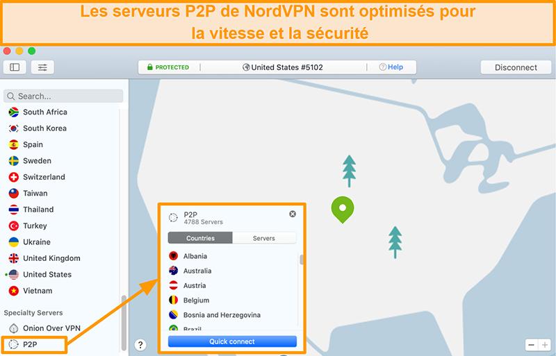 Capture d'écran des serveurs P2P de NordVPN sur l'application Mac