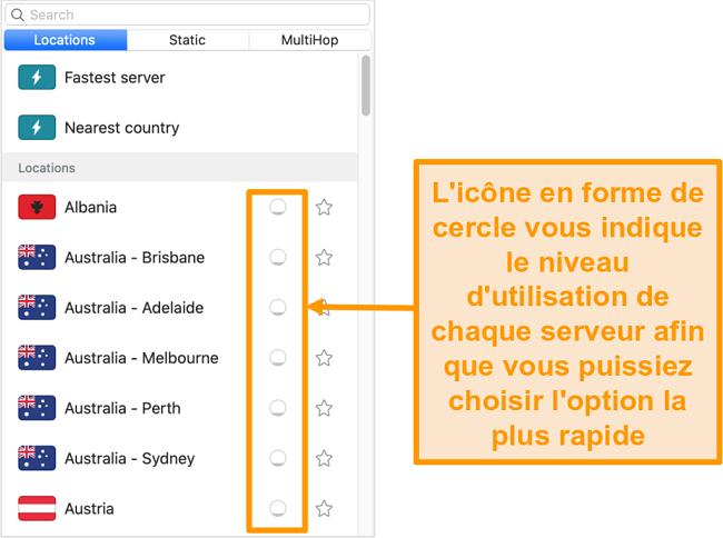 Capture d'écran de la liste des serveurs de Surfshark affichant la charge du serveur