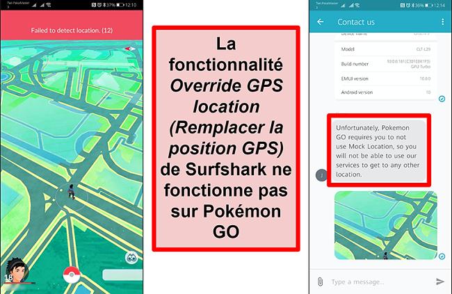 Captures d'écran du service client Surfshark confirmant que Pokémon Go ne fonctionne pas avec l'usurpation GPS, avec une capture d'écran de Pokémon Go montrant qu'il n'a pas pu détecter l'emplacement actuel