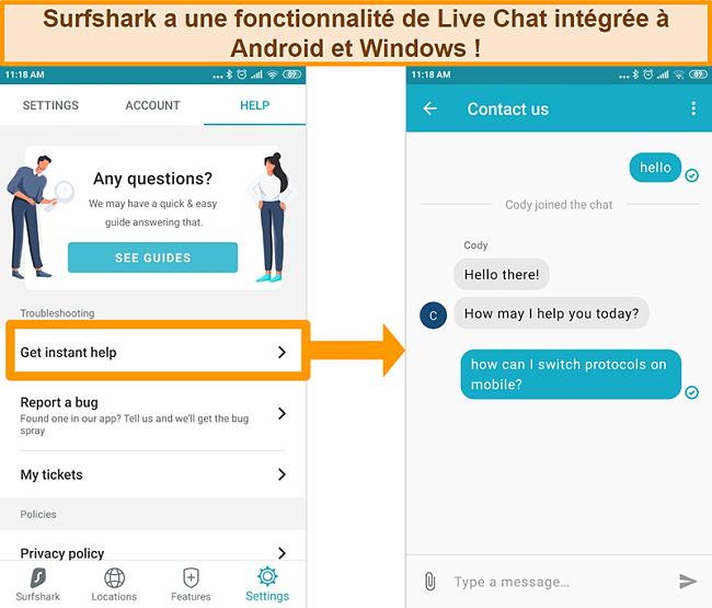 Capture d'écran de la fonction de chat en direct intégrée de Surfshark sur l'application Android
