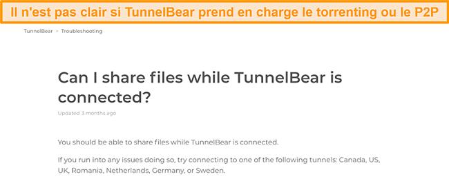 Capture d'écran de la page de dépannage de TunnelBear sur le partage de fichiers