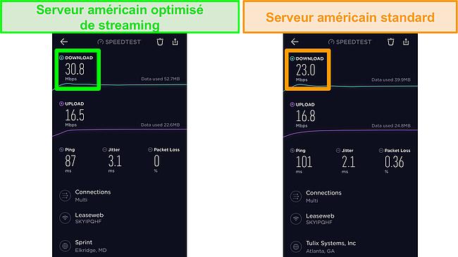 Capture d'écran des tests de vitesse Ookla iOS