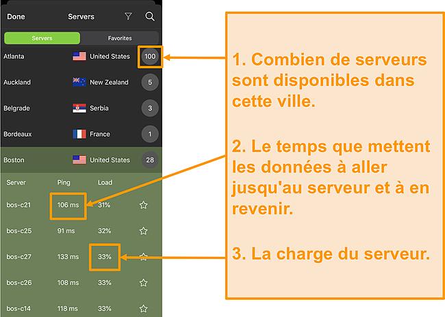 Capture d'écran de la liste des serveurs IPVanish avec les numéros de serveur, le ping et la charge du serveur mis en évidence