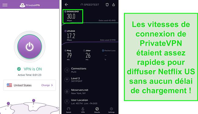 Capture d'écran de PrivateVPN connecté au serveur américain et test de vitesse Ookla