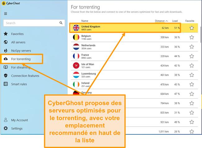 Capture d'écran des serveurs optimisés P2P de CyberGhost
