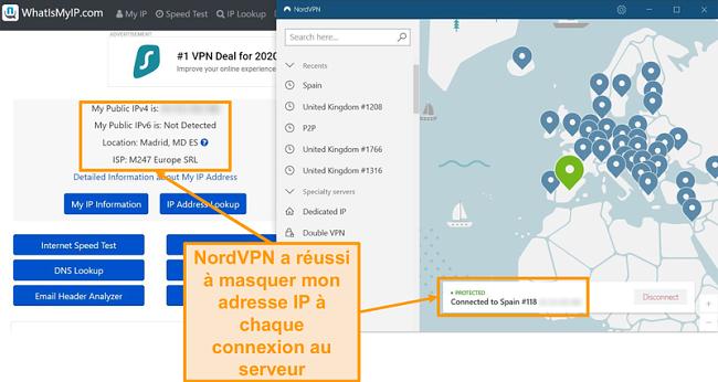 Capture d'écran du test d'adresse IP montrant que NordVPN masque avec succès les adresses IP