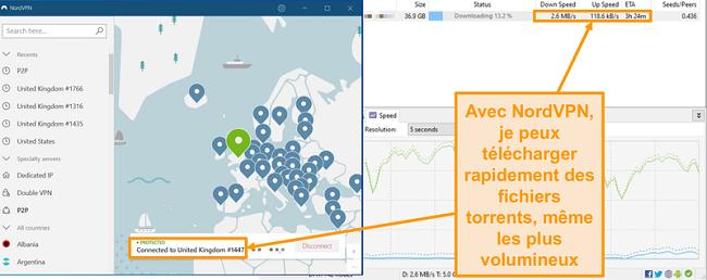 Capture d'écran du téléchargement d'un fichier torrent alors qu'il est connecté à NordVPN