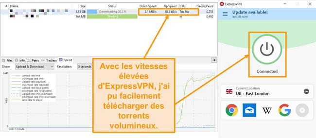 Capture d'écran de téléchargement de fichiers torrent avec connexion ExpressVPN mis en place