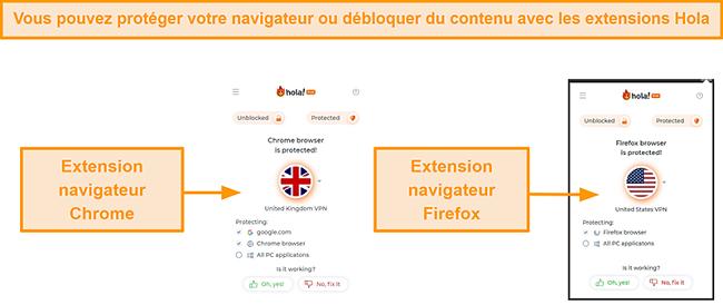 Capture d'écran des extensions de navigateur Chrome et Firefox de Hola VPN