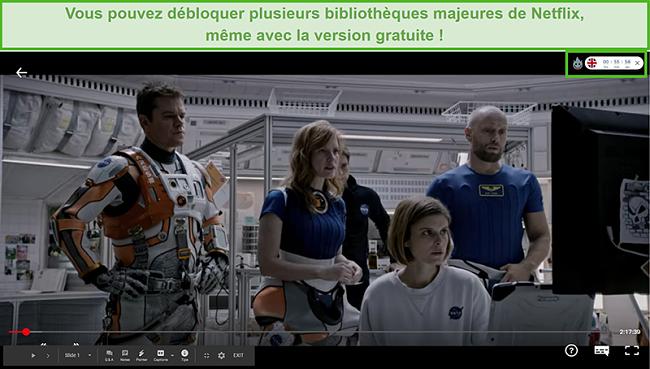 Capture d'écran de Hola VPN débloquant The Martian sur Netflix US