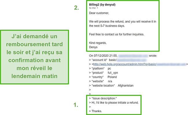 Capture d'écran d'un e-mail de Hola VPN confirmant un remboursement dans les 10 heures suivant la demande initiale