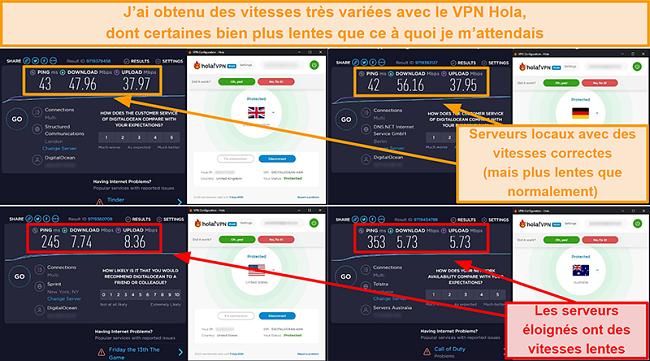 Capture d'écran des tests de vitesse Hola VPN au Royaume-Uni (47 Mbps), en Allemagne (56 Mbps), aux États-Unis (7 Mbps) et en Australie (5 Mbps)