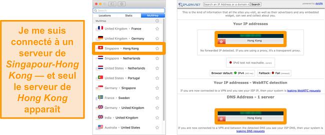 Capture d'écran du serveur MultiHop de Surfshark (double VPN) pour Singapour et Hong Kong, ainsi que les résultats des tests de fuite montrant uniquement le serveur de Hong Kong visible