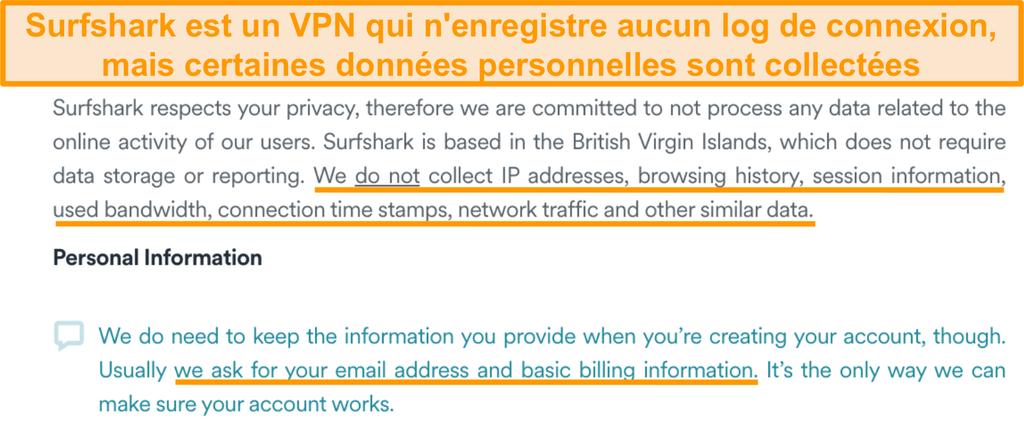 Capture d'écran de la politique de confidentialité de Surfshark