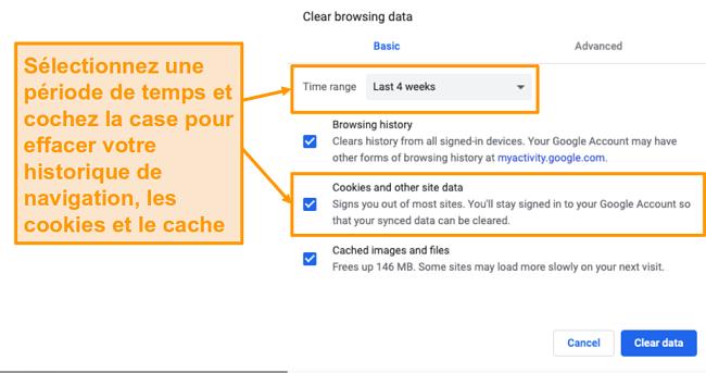 Capture d'écran de la suppression du cache et de l'historique de navigation dans Google Chrome