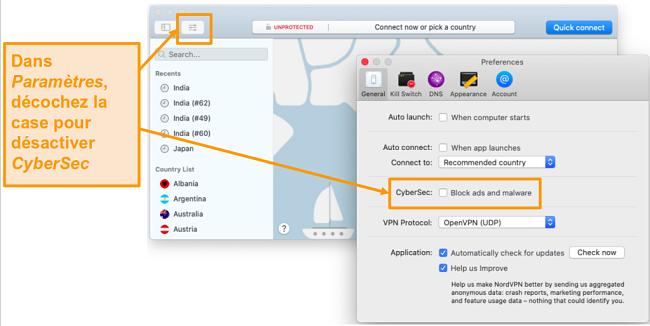 Capture d'écran de la désactivation de CyberSec sur l'application NordVPN