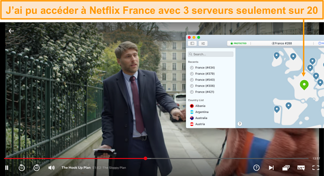 Capture d'écran de NordVPN débloquant Netflix France et diffusant The Hook Up Plan