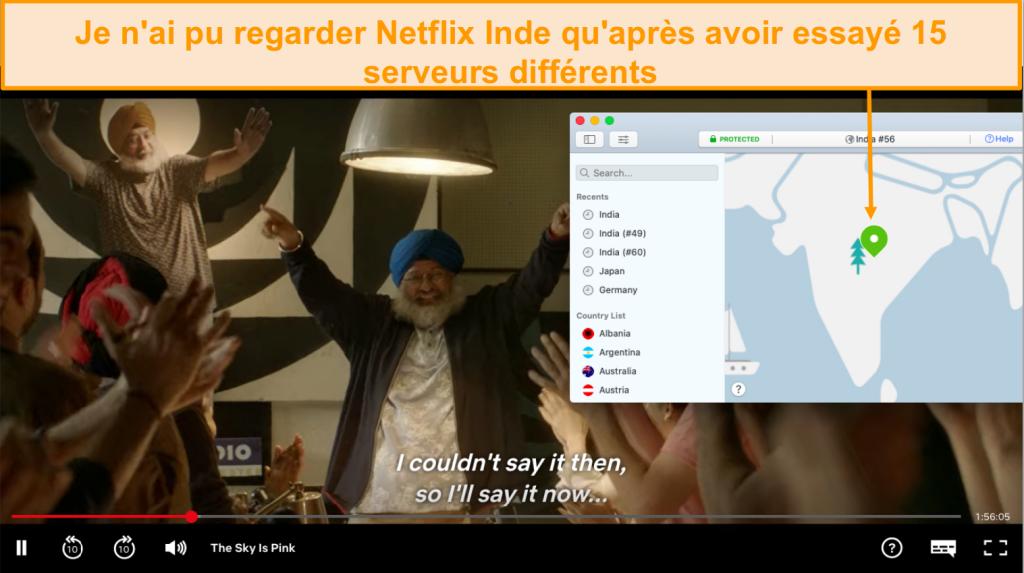 Capture d'écran de la diffusion en continu de Netflix Inde avec NordVPN