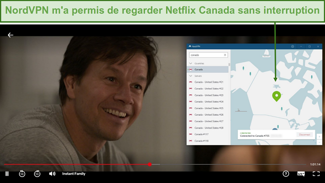 Screenshot of NordVPN unblocking Netflix Canada while playing Instant Family