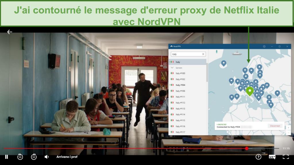 Capture d'écran de NordVPN débloquant Netflix Italie pendant la lecture d'Arrivano i Prof
