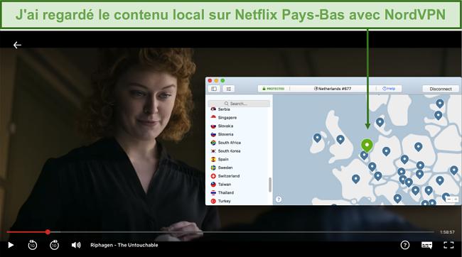 Capture d'écran de la diffusion de contenu local sur Netflix Pays-Bas avec NordVPN