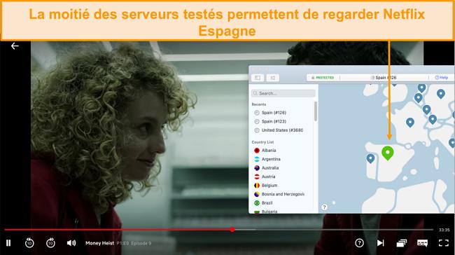 Capture d'écran de NordVPN débloquant Netflix Espagne
