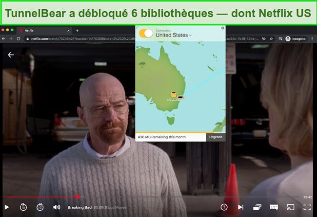Capture d'écran de Tunnelbear diffusant Breaking Bad sur Netflix US