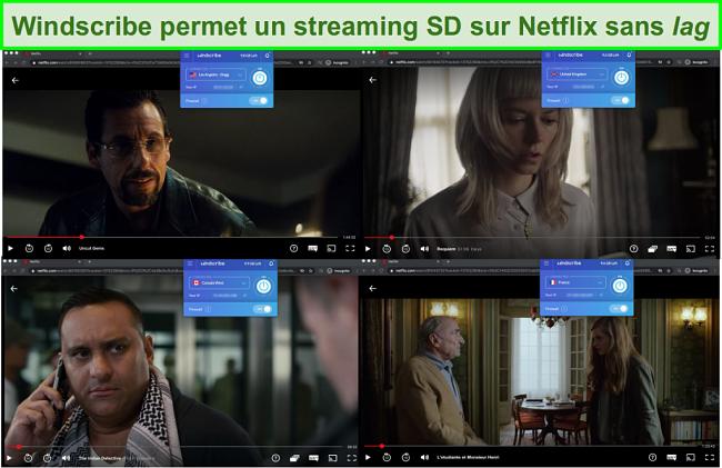 Captures d'écran de Windscribe accédant à Netflix aux États-Unis, au Royaume-Uni, au Canada et en France
