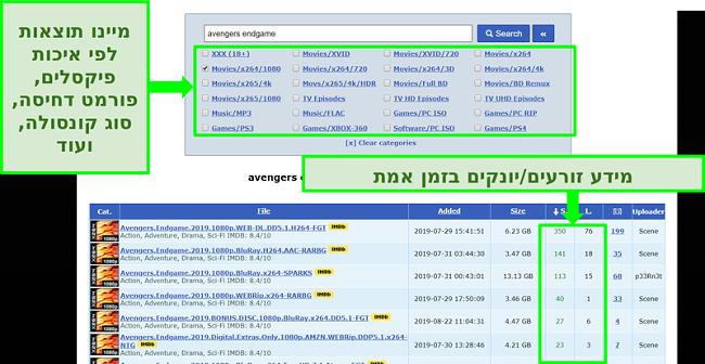 צילום מסך של דף החיפוש RARBG