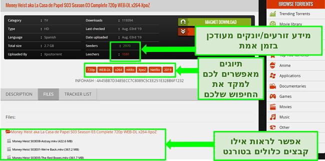 תמונת מסך של דף ההורדה 1337xTorrents