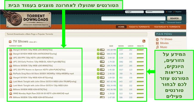 צילום מסך של דף הנחיתה של TorrentDownloads