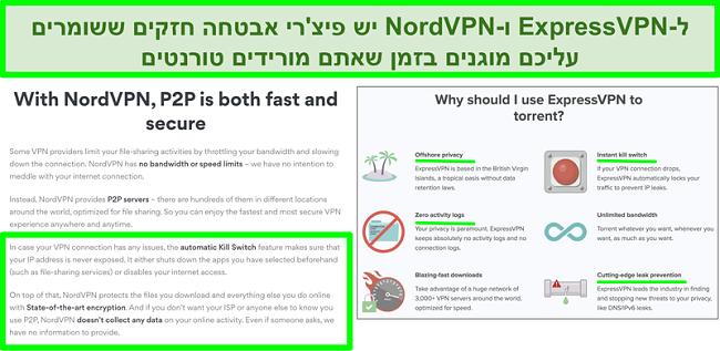 תמונת מסך של אתרי NordVPN ו- ExpressVPN מראה כי הם תומכים בסיקור