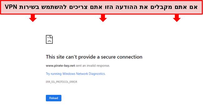 צילום מסך של הודעת שגיאה בעת ניסיון לגשת לפיראט ביי ללא VPN
